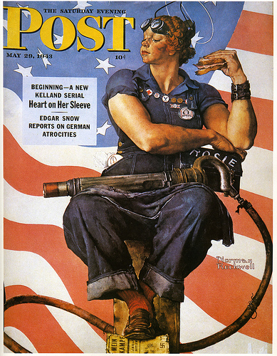 Norman Rockwell's cover of the Saturday Evening Post, featuring Rosie the Riveter.